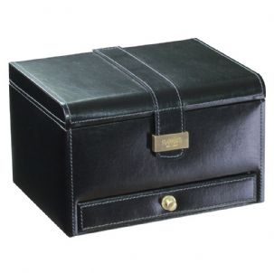 Dulwich Designs 70866 Black 3pc Watch and Cufflink Box With Grey Lining